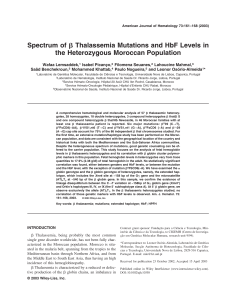 Spectrum of [beta] thalassemia mutations and HbF levels in the