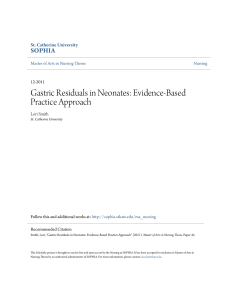 Gastric Residuals in Neonates: Evidence-Based Practice