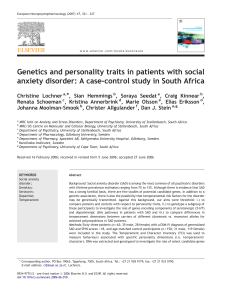 Genetics and personality traits in patients with social anxiety