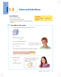 1.5 Cubes and Cube Roots