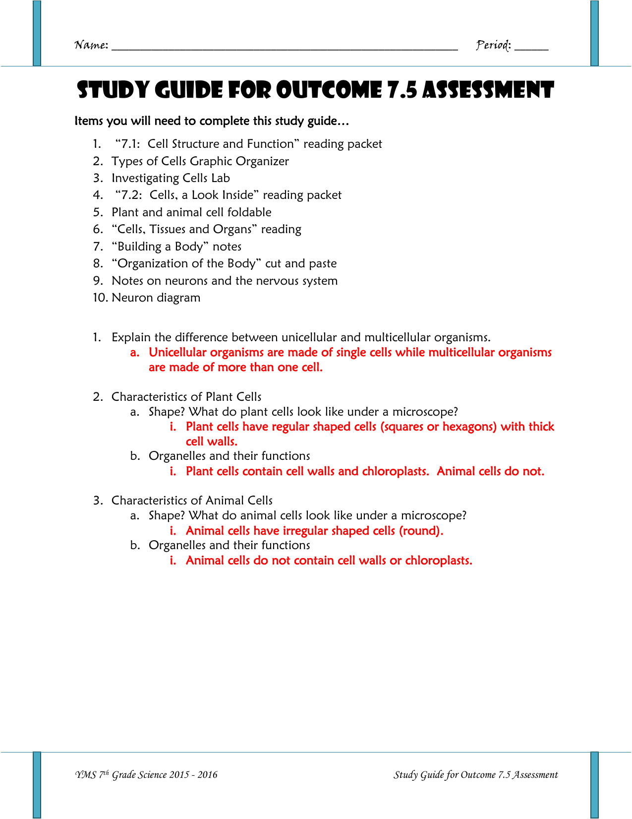 Outcome 7 5 Assessment Study Guide ANSWER