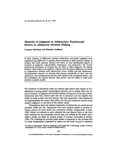 Maturity of judgment in adolescence: Psychosocial factors in