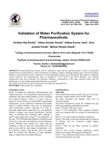 Validation of Water Purification System for Pharmaceuticals