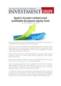Spain`s Azvalor ranked most profitable European equity fund