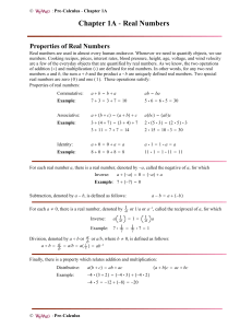 Chapter 1A - Real Numbers