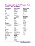 Transitional Words And Phrases That Create Logic In Writing