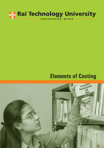 Elements of Costing - Department of Higher Education