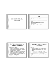 GOVERNMENT AT A GLANCE Plan The Three Branches of the