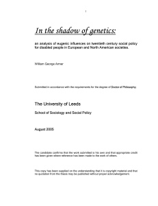 In the shadow of genetics - Centre for Disability Studies