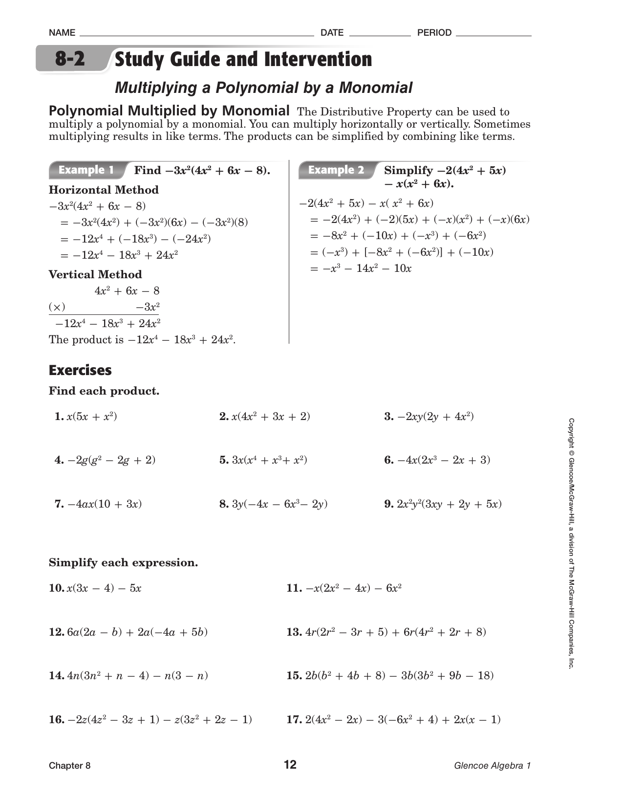 Chapter 8-2 Study Guide and Intervention