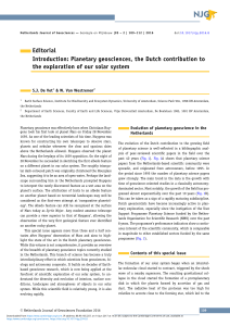 Editorial Introduction: Planetary geosciences, the Dutch contribution