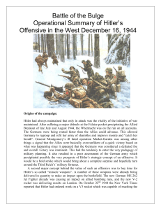 Battle of the Bulge Operational Summary of Hitler`s Offensive in the