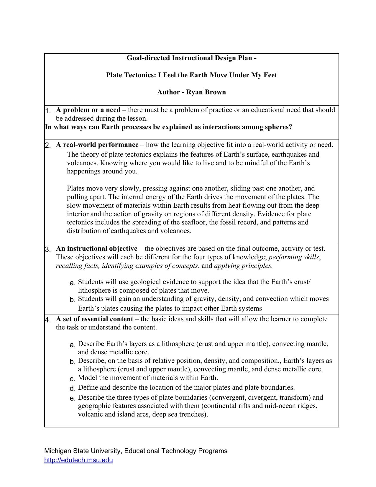 Goal Directed Instructional Design Plan
