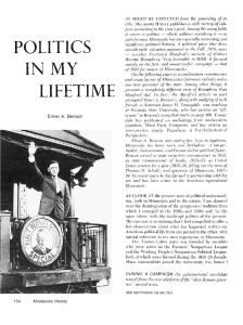 Politics in my lifetime / Elmer A. Benson. - Collections