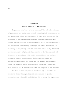 Chapter 12- Sexual Behavior in Adolescence