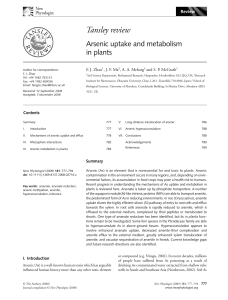 Arsenic uptake and metabolism in plants