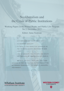 Neoliberalism and the Crisis of Public Institutions