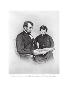 Abraham Lincoln and his son Tad are shown looking at a