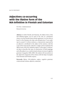 Adjectives co-occurring with the illative form of the MA