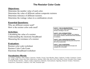 Word Pro - Common Board Configuration Resistor Color Code