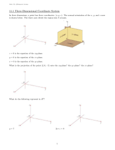 11.1 Three-Dimensional Coordinate System