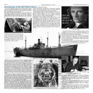 Anniversary of the SS Patrick Henry by William Ironstone