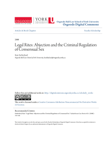 Legal Rites: Abjection and the Criminal Regulation of Consensual Sex