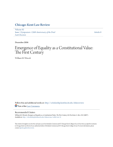 Emergence of Equality as a Constitutional Value