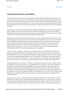 colonial government and politics