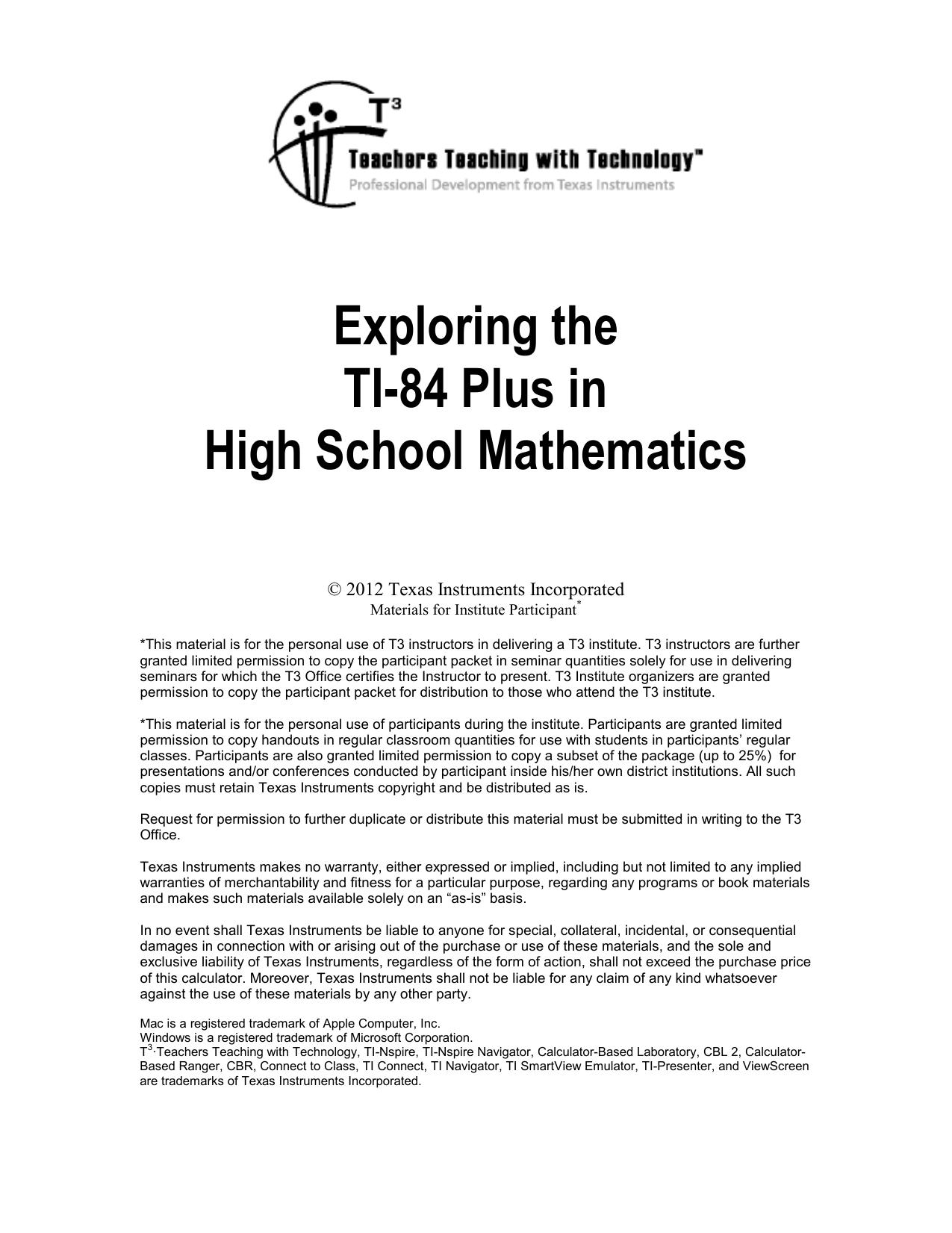 Exploring the TI-84 Plus in High School Mathematics