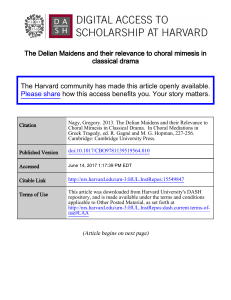 The Delian Maidens and their relevance to choral mimesis in