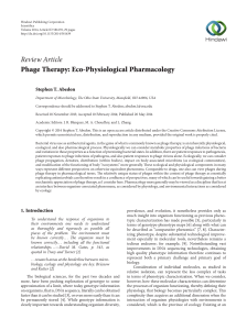Phage Therapy: Eco-Physiological Pharmacology