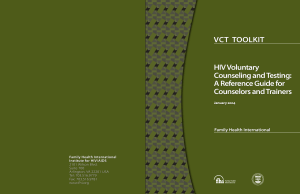 HIV Voluntary Counseling and Testing: A Reference Guide for