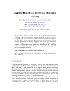 Skeptical Hypotheses and Moral Skepticism