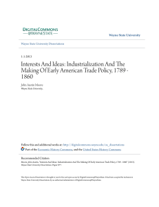 Industrialization And The Making Of Early American Trade Policy