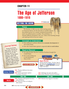 Chapter 11: The Age of Jefferson: 1800-1815
