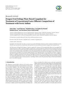 Dragon Fruit Foliage Plant-Based Coagulant for Treatment of