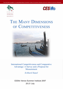 International Competitiveness and Comparative Advantage: A