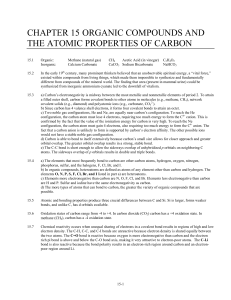 CHAPTER 15 ORGANIC COMPOUNDS AND THE ATOMIC