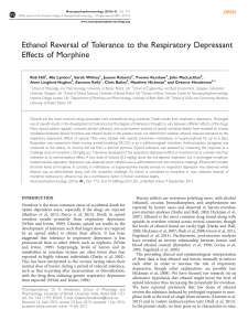 Ethanol Reversal of Tolerance to the Respiratory Depressant Effects