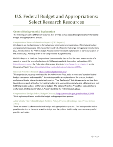 U.S. Federal Budget and Appropriations: Select Research Resources