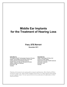 Middle Ear Implants for the Treatment of Hearing Loss