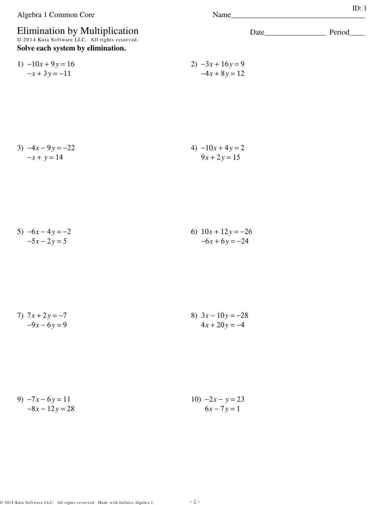 Algebra 1 Common Core - Elimination by Multiplication.ks-ia1