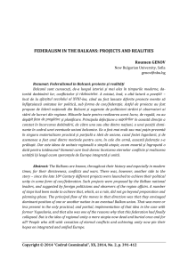 FEDERALISM IN THE BALKANS: PROJECTS AND REALITIES