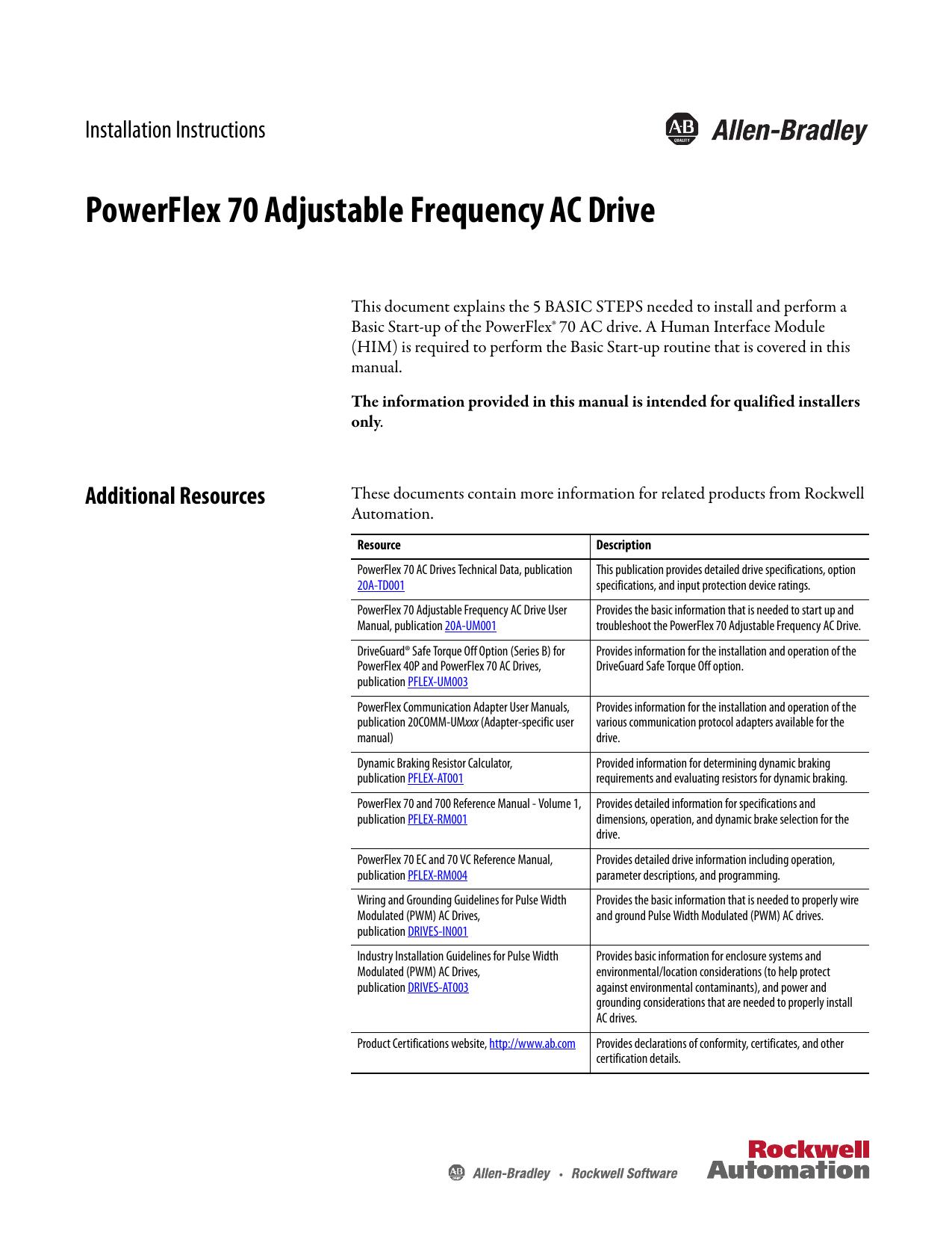 PowerFlex 70 Adjustable Frequency AC Drive Installation