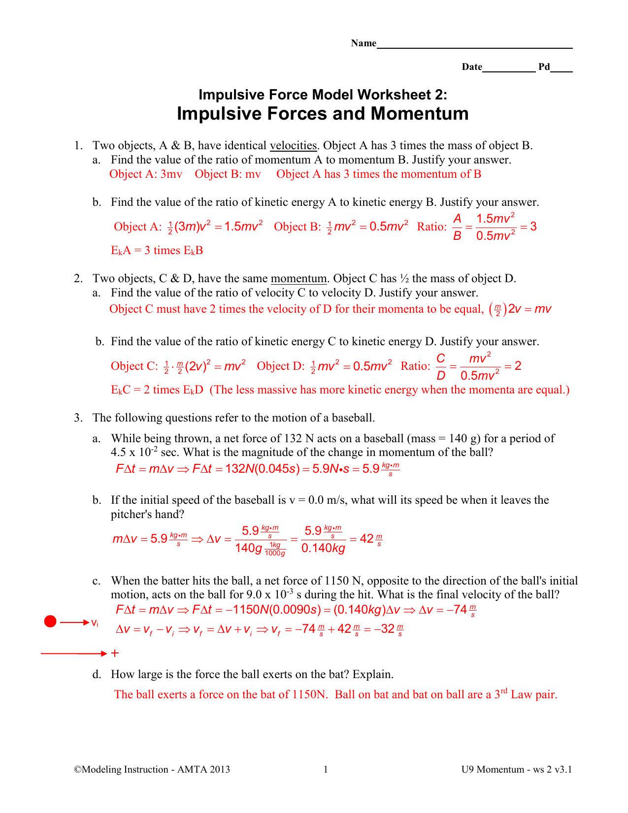 Worksheets Momentum Worksheet impulsive forces and momentum