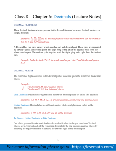 Chapter 6: Decimals (Lecture Notes)