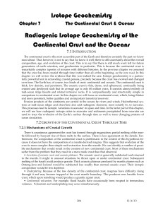 Chapter 7. Radiogenic Isotope Geochemistry of the Crust and Oceans