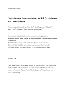 Conclusions and Recommendations for Risk Perception and Risk