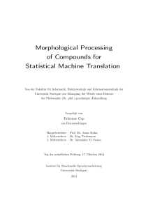 Morphological Processing of Compounds for Statistical Machine